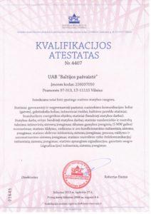 UAB Baltijos Pašvaistė kvalifikacijos atestatas